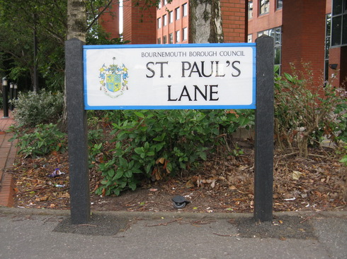 Road sign, St Paul's Lane, Bournemouth