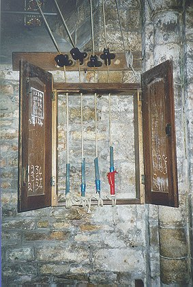 Ellacombe chime apparatus in St. Nicholas' Church, Studland