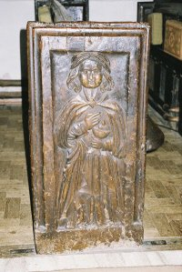 Trent Church - bench end - priest