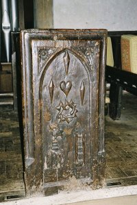 Trent Church - bench end - wounds