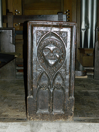 Trent Church - bench end - green man